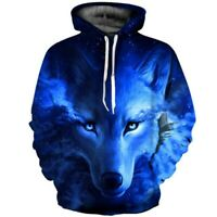 Men/Women Fashion 3D Wolf Printed Hoodie Cool Animal Pullover Top Shirt Jacket