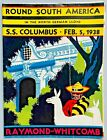 1938 S.S.COLUMBUS  ROUND SOUTH AMERICA CRUISE BROCHURE/DECK PLANS