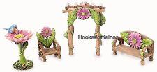 Miniature Fairy Garden Furniture - Resin Pink Flower Garden Set - 4 pc 30005294