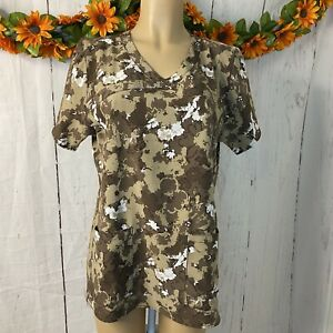 Carhartt Force Camo Scrub Top Women's Size Large Shirt Camouflage Short Sleeves
