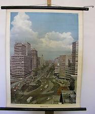 schöne alte Schulwandkarte Wandbild Mexiko-Stadt 55x71cm vintage city map ~1960