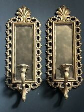 Vintage Homco Gold Wall Sconces Candles Antique Mirrors Hollywood Regency Pair