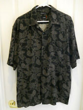 Utopia Hawaiian Style Shirt Mens Size XL Black Floral Washable Silk Button Down