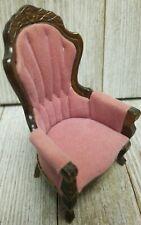 Dollhouse Furniture 1940s Grandmas Collection Armchair Pink Brown - B83
