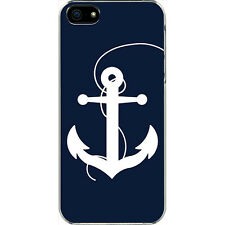 Large Navy Blue and White Faith Anchor Design iPhone 6 White Slim Case Cover