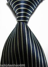 New Classic Stripes Dark Blue Beige JACQUARD WOVEN 100% Silk Men's Tie Necktie