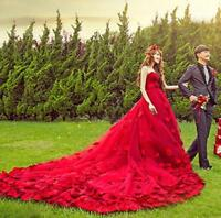 Women's Petals Off Should Red Slim Wedding Dress Prom Party Cocktail Ball Gown