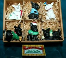 Mary Engelbreit Set of-6 Henry Scottie Christmas Dog Tree Ornaments w/Box 1998