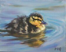 Artist PDQ Original Oil Painting Duckling Mallard Waterbird Art Canvas Realism