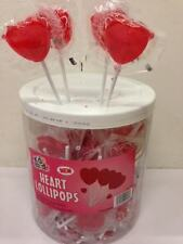 100 Red Heart Shaped Lollies Valentines Wedding Favours