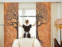 Indisch Baum des Lebens Baumwolle Brown Wandteppich Fenster Tür Vorhang Volant 2