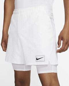 NIKE Court Ace DRY 2-in-1 Tennis Shorts White Sz M *NEW* AV4906-100 $90 RARE