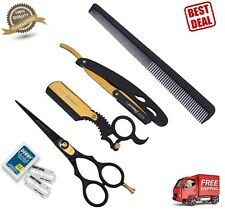 Professional Barber Hair Shaving Razor Straight Knife Navaja& BARBER SCISSOR 5.5