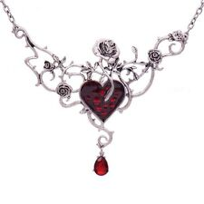 RED HEART, ROSES & THORNS NECKLACE PENDANT GOTHIC STEAM PUNK  ON CHAIN