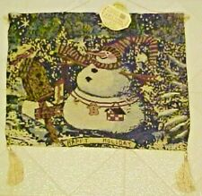 "Tapestry Wall Hanging Jolly Snowman Christmas Winter 13"" x 16"""