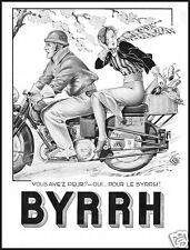 PUBBLICITA' 1933 BYRRH VINO APERITIVO MOTO VIAGGIO PIC-NIC DONNA ARREDAMENTO BAR