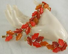 LISNER Bracelet & Clip on Earring Set of Multi Orange Color Oak Leaves Vintage
