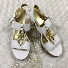 "Fioni Womens Wedge Sandals Size 9 1/2 Strappy 4"" Heel White Gold Accent gq5230"
