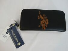 NWT U.S. POLO ASSN WOMEN'S ZIP AROUND CLUTCH WALLET-BLACK-FREE SHIPPING!!