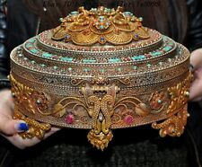 Tibet bronze gilt Silver filigree inlay Turquoise coral Dorje Phurpa Jewelry Box