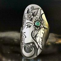 natural green emerald gemstone ring in 925 silver fine with jewelry box P5P3