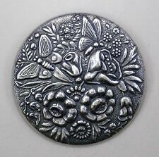 #3380 ANTIQUED SS/P ROUND FLORAL/BUTTERFLY BROOCH - 1 Pc Lot