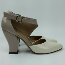Womens John Fluevog Cream Tan Patent Leather Ankle Strap Pointy Toe Shoes Sz 6.5