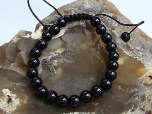 Men's Women's Shamballa Bracelet 8mm BLACK DIAMOND gemstone beads 7.5inch