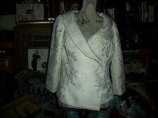 WHITE HOUSE BLACK MARKET Elegant Salt White Embroidered Coat Size 8