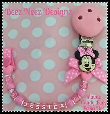 ❤ PERSONALISED Your Name Choice ❤ DUMMY CLIP ❤ MINNIE ❤ Candy Pink Sparkle ❤