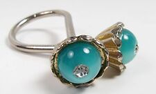 Vintage Silver Scarf Ring Loop Blue Lucite Domed Cabochon w Rhinestone 1950s/60s