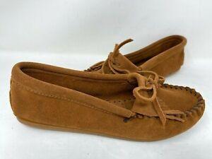 Minnetonka Women's Kilty Hardsole Moccasin Brown Slip On #402 W129 bz
