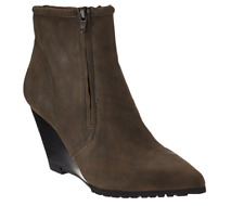 H by Halston Leather Double Zipper Wedge Ankle Boots - Hal Brown Women's 6 New