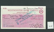 wbc. - CHEQUE - CH375- USED - 1961- WESTMINSTER BANK, GARSTON, LIVERPOOL