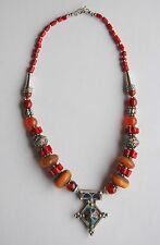 North Africa Berber necklace silver, coral, copal amber, baltic amber, enamel