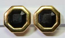 Vintage Signed SAL Goldtone Black Octagonal SWAROVSKI Crystal Pierced Earrings