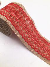 2m Jute Hessian Burlap Lace Ribbon Vintage Wedding Rustic width 6cm red