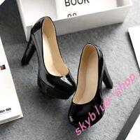 Ladies Round Toe Patent Leather Platform Block High Heel OL Shoes US 4-12.5 Pump
