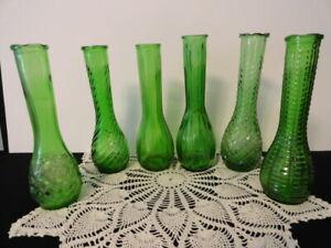 "Lot of 6 Vintage Emerald Green Glass 8.5"" Bud Vases   6 Different Designs"