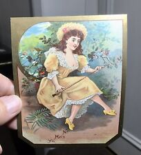 Lovely Victorian Mill Material Order Dispatch Label-Pretty Ladies-Reclining Lady