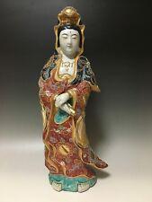 Japanese Japan,Buddhism Kutani pottery statue Buddha Kannon Bodhisattva 44.5cm み