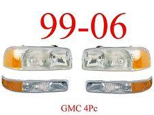 99 06 GMC 4Pc Head & Park Light Set, Assembly, Truck, Sierra, 1500, 2500, 3500