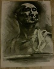 Original large charcoal drawing-65x50cm Ancient usury  statue-portret