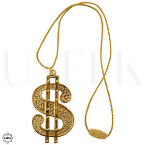 """BLING Gold Dollar Sign Chain - Gangster Rapper """"$"""" Medallion Necklace Accessory"""