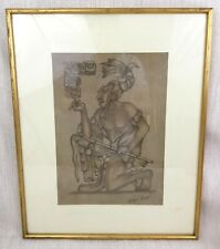 Original South American Leather Folk Art Pyrography Aztec Mayan Warrior Picture