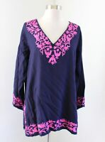Gretchen Scott Designs Navy Blue Pink Embroidered V Neck Tunic Top Blouse Size L