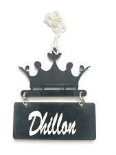 Acrylic Punjabi Sikh Singh Kaur DHILLON Surname Crown Pendant Car Mirror Hanger