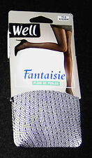 "COLLANT T 2 NYLON LYCRA FRANCE ""WELL FANTAISIE PLUIE PERLE"" EBENE MODE SEXY FUN"