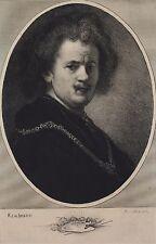 REMBRANDT VAN RIJN Grande gravure ancienne par Alexandre Charles MASSON(XIX-XX)