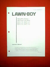 Lawn Boy Silver Series Self Propelled Mower Owner'S Manual